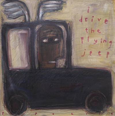 'I Drive the Flying Jeep' - Signed Whimsical Modern Painting of a Jeep from Java