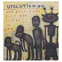 'Ufolution' - Signed Whimsical Modern Painting by a Javanese Artist