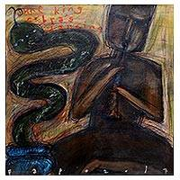'The King Cobra's Dacing' - Signed Painting of a Snake Charmer from Java