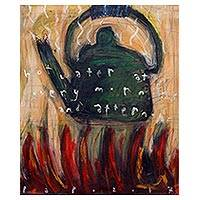 'Hot Water at Every Morning and Afternoon' - Signed Painting of a Boiling Kettle from Java