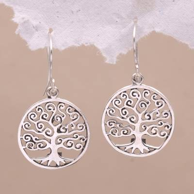 Sterling silver dangle earrings, 'Tree of Dreams' - Round Sterling Silver Dreamy Growing Trees Dangle Earrings