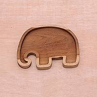 Teakwood appetizer platter, 'Delicious Bounty' - Elephant Motif Teakwood Appetizer Platter Handmade in Java