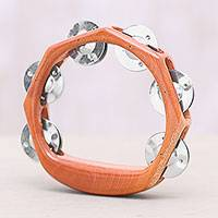 Wood and stainless steel tambourine, 'Funky Tune' - Teak Wood and Stainless Steel Tambourine from Bali