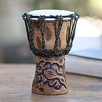 Mahogany mini djembe drum, 'Gecko Tune' - Mahogany Mini Djembe Drum Handmade in Bali