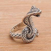 Sterling silver cocktail ring, 'Flaring Cobra' - Sterling Silver Cobra Cocktail Ring from Bali