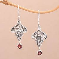 Garnet dangle earrings, 'Tumbling Hearts' - Sterling Silver Tumbling Heart Garnet Dangle Earrings