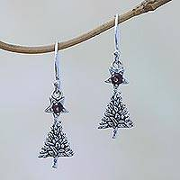 Garnet dangle earrings, 'Blessing Tree' - Sterling Silver Star Amethyst Blessing Tree Dangle Earrings