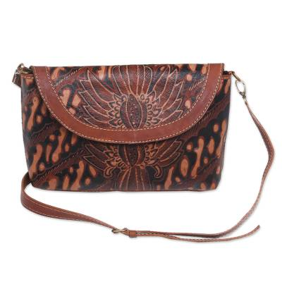 Adjustable Dark Brown Leather Floral Parang Sling