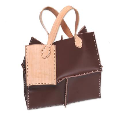 Hand-Made Brown and Camel Leather Tote Patchwork Handbag