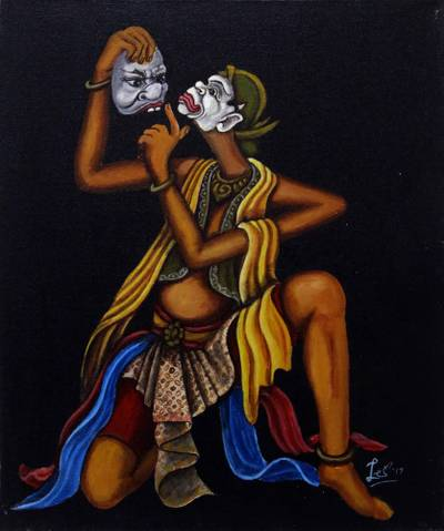 'Doyok Dance' - Original Oil on Canvas Painting of a Javanese Mask Dancer
