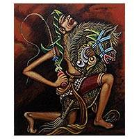 'Possessed Jatilan' - Signed Expressionist Traditional Dance Painting from Java
