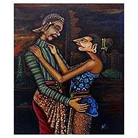 'Loro Blonyo' - Signed Folk Art Painting of an Indonesian Couple