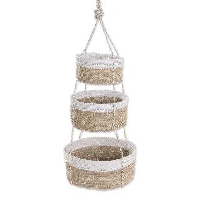 Handwoven Natural Fiber White Rim Three Tier Hanging Baskets