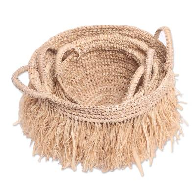 Handcrafted Natural Fiber Woven Baskets (Set of 3)