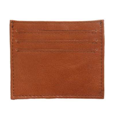 Brown Handcrafted Seven-Slot Leather Card Holder from Bali