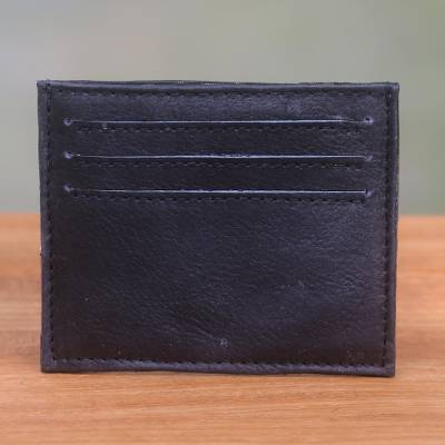 Leather card holder, 'Business Savvy in Black' - Black Handcrafted Seven-Slot Leather Card Holder from Bali