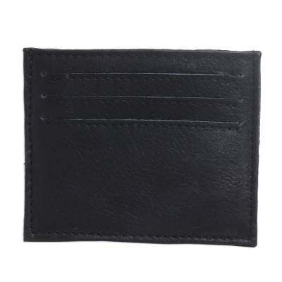 Black Handcrafted Seven-Slot Leather Card Holder from Bali