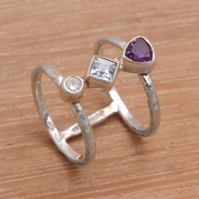 Multi-gemstone cocktail ring, 'Lolly' - Bali Amethyst and Blue Topaz Multi-Stone Silver Ring