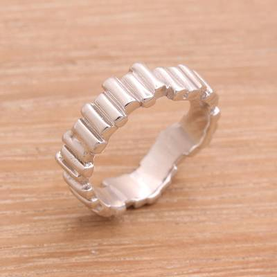Sterling silver band ring, Hallucination Bars