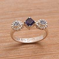 Iolite and blue topaz cocktail ring, 'Cool Trio' - Sterling Silver Blue Topaz and Iolite Faceted Cocktail Ring