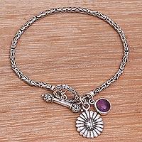 Amethyst charm bracelet, 'Mystic Sunflower' (Indonesia)