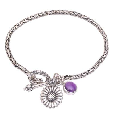 Floral Amethyst Charm Bracelet from Indonesia