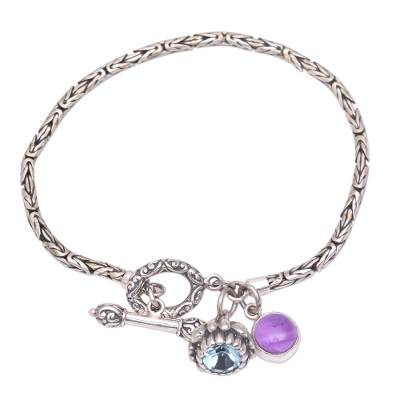 Blue Topaz and Amethyst Charm Bracelet from Indonesia