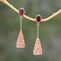 Rose gold plated garnet dangle earrings, 'Flying Embers' - Garnet and Rose Gold Plated Sterling Silver Dangle Earrings