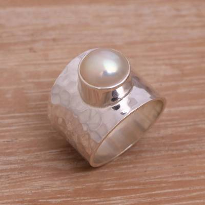 Cultured pearl cocktail ring, 'Gleaming Fate' - Cultured Pearl Cocktail Ring Crafted in Indonesia