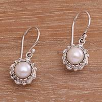 Cultured pearl dangle earrings, 'Little Lotus' - Lotus Flower Cultured Pearl Pendant Necklace from Bali