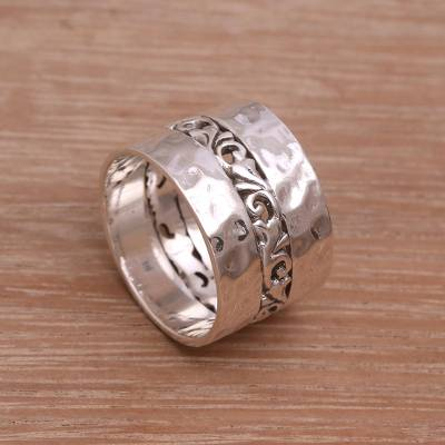 Sterling silver band ring, 'Around the Vines' - Sterling Silver Band Ring Crafted in Indonesia