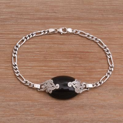 Onyx and sterling silver pendant bracelet, 'Midnight Grove' - Onyx and Sterling Silver Pendant Bracelet from Bali
