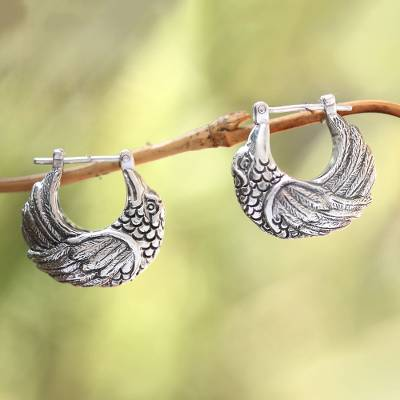 Sterling silver hoop earrings, 'Kingfisher' - Sterling Silver Kingfisher Feathered Bird Half-Hoop Earrings
