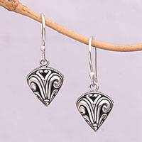 Sterling silver dangle earrings, 'Swirling Crest' - Sterling Silver Swirl Motif Dangle Earrings from Bali