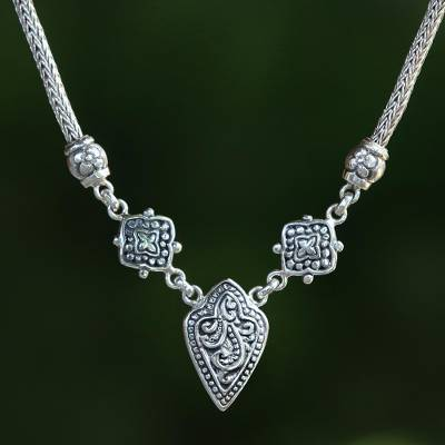 Sterling silver pendant necklace, 'Star Shield' - Shield-Shaped Sterling Silver Pendant Necklace from Bali