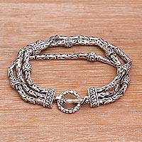 Sterling silver station bracelet, 'Meditative Soul' - Multi-Strand Sterling Silver Station Bracelet from Bali