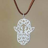 Sterling silver pendant necklace, 'Hand of Fatima' - Sterling Silver Hamsa Pendant Necklace from Bali