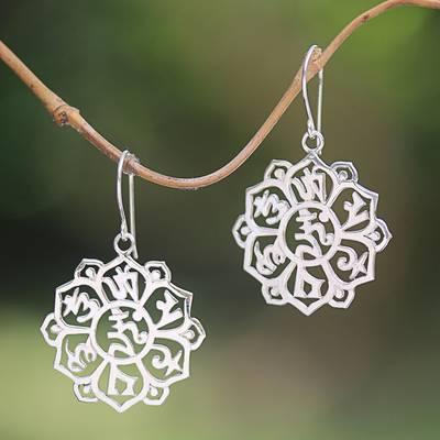 Sterling silver dangle earrings, Sanskrit Om Flower