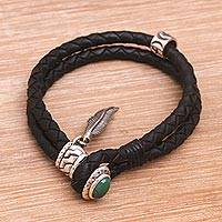 Turquoise braided wristband bracelet, 'Feather of Bravery' - Turquoise and Leather Braided Wristband Bracelet from Bali