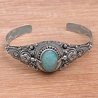 Amazonite cuff bracelet, 'Sindu Magic' - Floral Amazonite Cuff Bracelet Crafted in Indonesia