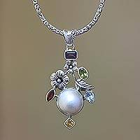 Cultured pearl and multi-gemstone pendant necklace, 'Goddess Garden' (Indone..