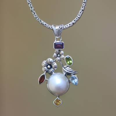 Cultured pearl and multi-gemstone pendant necklace, 'Goddess Garden' - Multi-Gemstone Floral Sterling Silver Pendant Necklace