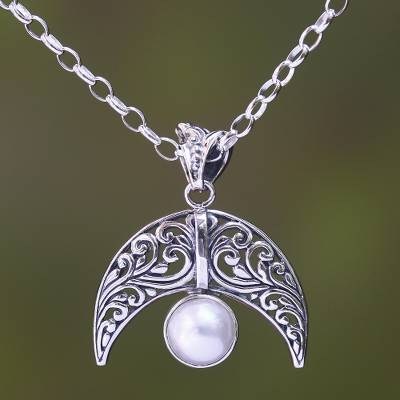 Cultured pearl pendant necklace, 'Crescent Glow' - Cultured Pearl Crescent Pendant Necklace from Bali