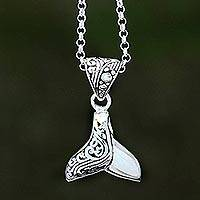 Sterling silver pendant necklace, 'Bali Whale' - Whale Flipper Sterling Silver Pendant Necklace from Bali