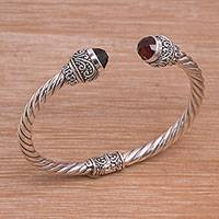 Garnet cuff bracelet, 'Flourish in Red' - Garnet and Sterling Silver Cuff Bracelet from Bali