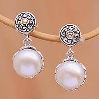 Gold accent cultured pearl dangle earrings, 'Secret Treasure' - Gold Accent Cultured Pearl Dangle Earrings with Posts