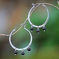 Onyx hoop earrings, 'Midnight Eclipse' - Sterling Silver Black Onyx Midnight Eclipse Hoop Earrings