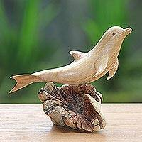 Wood sculpture, 'Joyous Dolphin' - Hand-Carved Jempinis Wood Leaping Dolphin Tree Sculpture