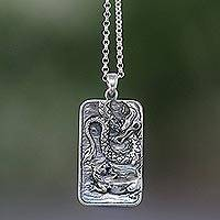 Sterling silver pendant necklace, 'Battle of Kings' - Sterling Silver Dragon and Lion Battle Pendant Necklace