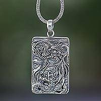 Sterling silver pendant necklace, 'Mystical Battle' - Sterling Silver Dragon Pendant Necklace from Bali